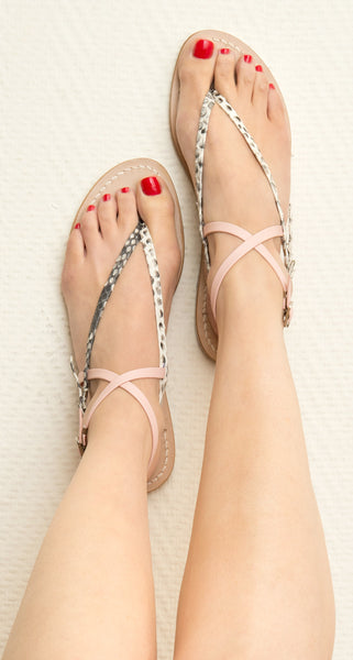 Sofia Capri  sandals | Pink and Python flats | Handmade in Capri
