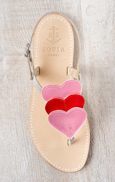Via Grotta Azzurra - Red and Pink Satin Hearts