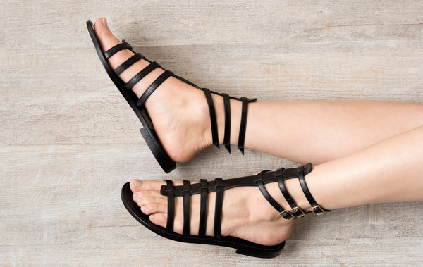 Sofia Capri sandals | Black gladiator sandals for women | Handmade in Capri