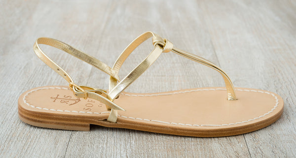 Sofia Capri  sandals | Platinum gold sandals for women | Handmade in Capri