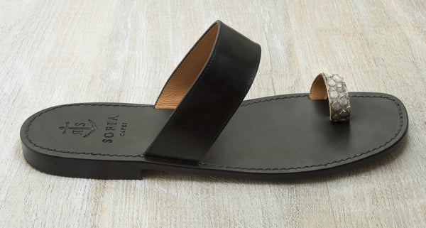 Sofia Capri sandals | Black and python sandals for men | Handmade in Capri