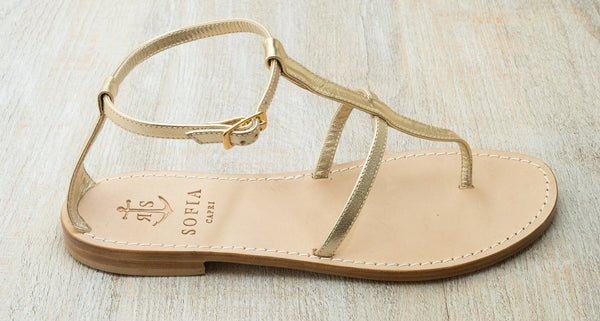 Sofia Capri  sandals | Light Gold flats | Handmade in Capri