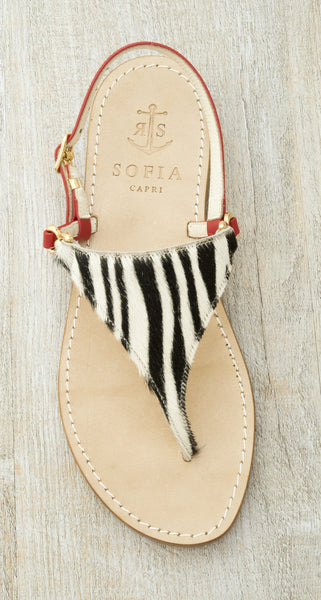 Sofia Capri sandals | Red and zebra print flats for women | Handmade in Capri