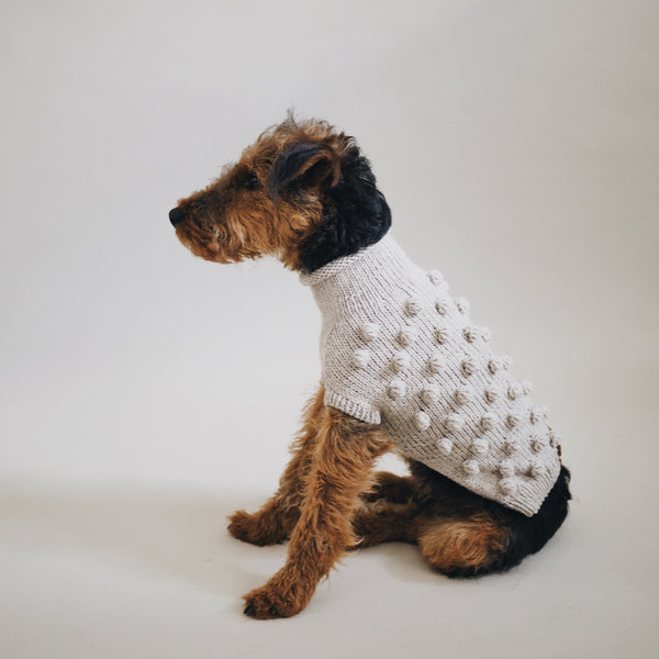 Dog sweater Pony pompony beige