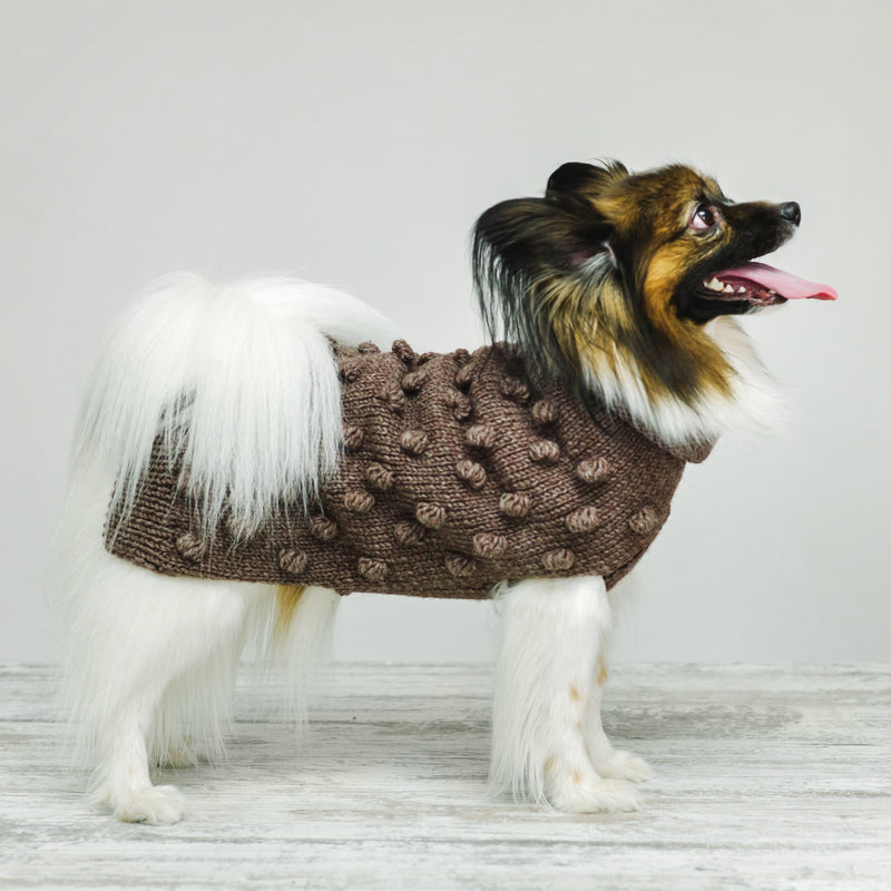 Dog sweater Pony pompony brown