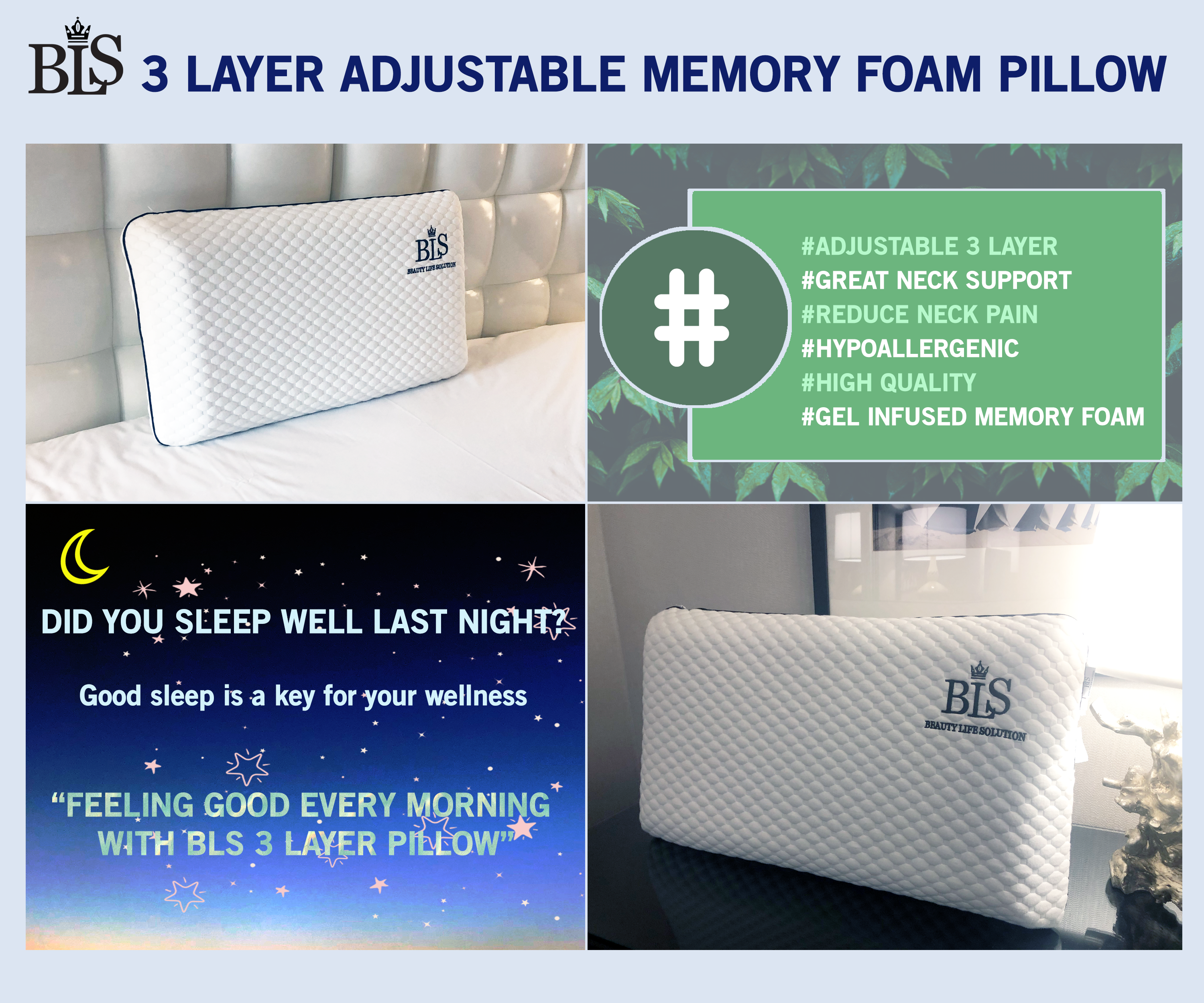 BLS 3 Layer Adjustable Dual Side Memory Foam Pillow