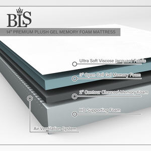 BLS 14 Inches Premium Plush Gel Memory Foam Mattress