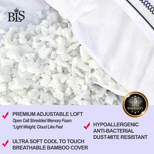 BLS Ultra Luxurious Adjustable Gusseted Memory Foam Pillow