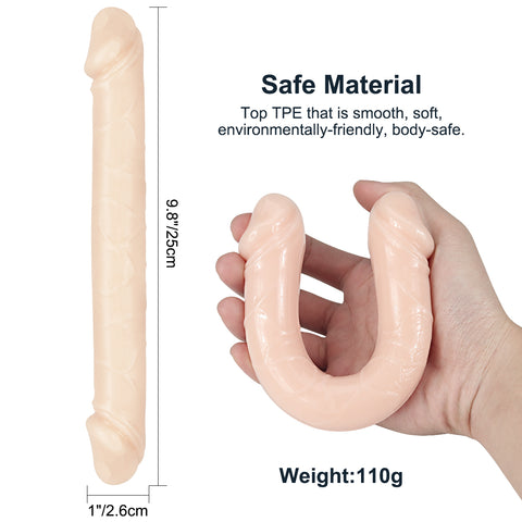 Double end realistic veined dildo