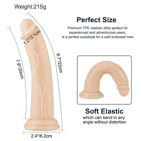 Realistic Crystal Suction cup dildo 8.6 inch