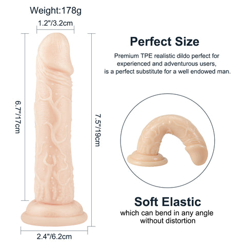Realistic Crystal Suction cup dildo 7.4inch