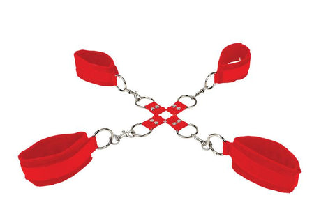 Image of Velcro Hand And Leg Cuffs - Red