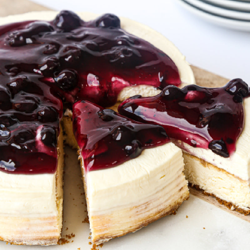 Baked & Frozen Blueberry Cheesecake