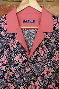 PINK BUTTERFLY CONTRAST COTTON SHIRT