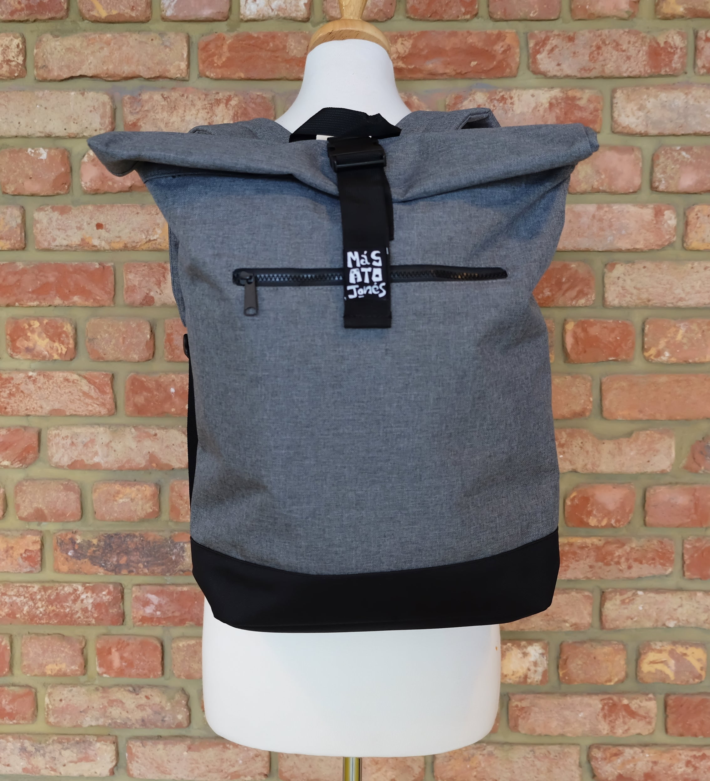 Grey Roll top rucksack