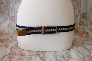 Navy/Grey stripe braid stretch belt