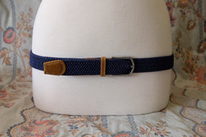 Navy braid stretch belt