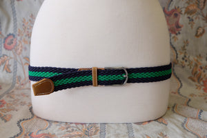 Navy/Kelly-Green stripe braid stretch belt