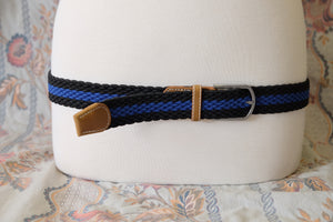 Black/Royal stripe braid stretch belt