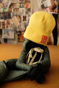Lemon Knitted turn-up beanie