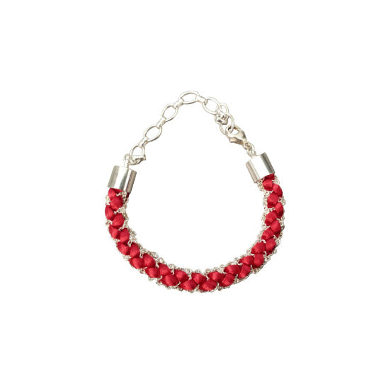 Miramar Woven Red Cord and Silver Bracelet