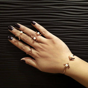 Merak Pearl Midi Ring - Freshwater Pearls with Spinel or Clear CZ