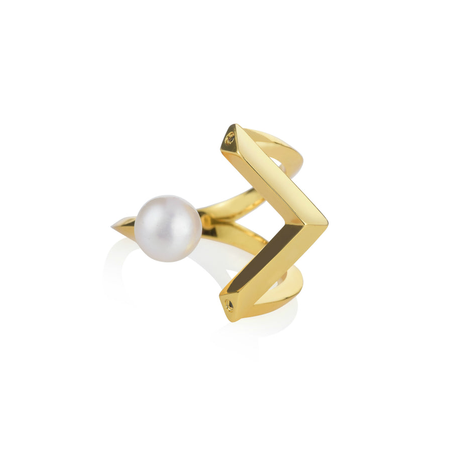 Mayuri Pearl Midi Ring- Freshwater Pearls with Spinel or Clear CZ