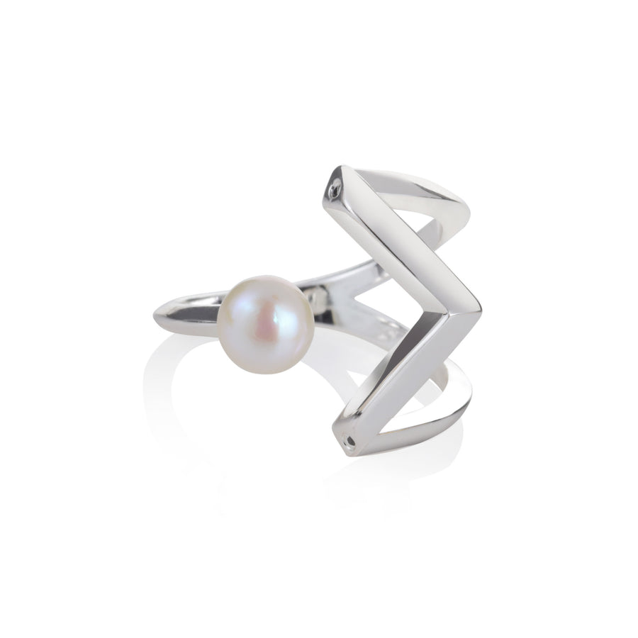 Mayuri Pearl Ring - Freshwater Pearls with Spinel or Clear CZ