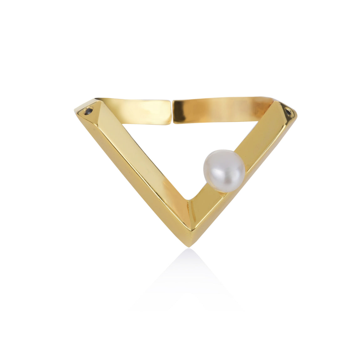Pala Pearl Chevron Ring - Freshwater Pearls with Spinel or Clear CZ