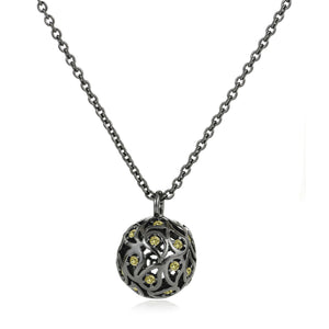 Svar Paisley Sphere Necklace Yellow CZ - Sonal Bhaskaran London - 1
