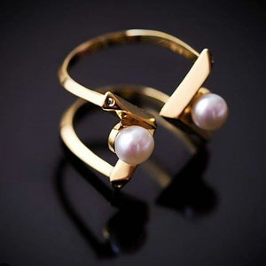 Ain Double Pearl Ring - Freshwater Pearls with Spinel or Clear CZ