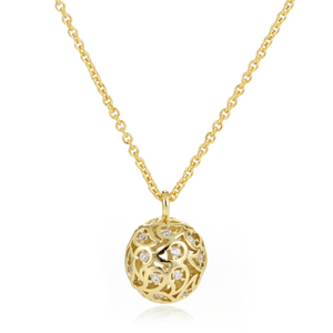 Svar Paisley Sphere Necklace Clear CZ - Sonal Bhaskaran London - 2
