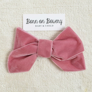 Large Velvet Hair Bow, Pink, Purple