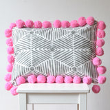 Gray Geometric Pillow w/ Large Pink Pompoms