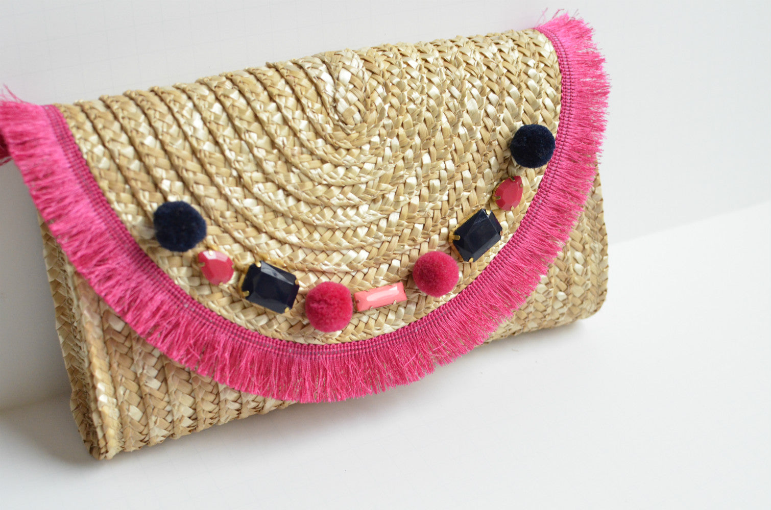 Raffia Straw Clutch in Watermelon