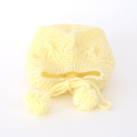 Yellow Hand Knit Hat / Newborn - 6 Mos