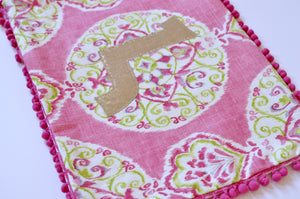 Personalized Armenian Monogram Pillow / Pink Medallion