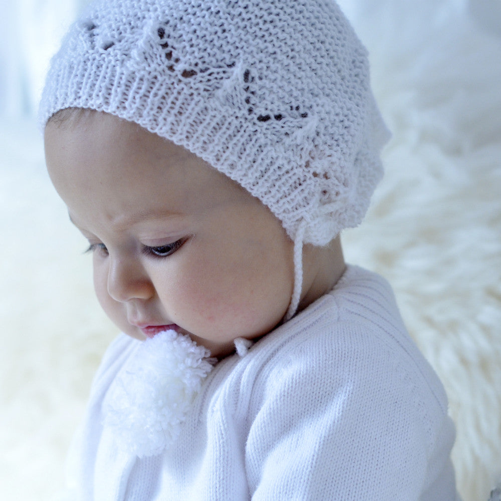 Hand Knit Baby Hat, Knitted Infant Hat, White Baby Hat, Baby Shower Gifts, Born on Bowery
