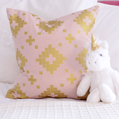 Metallic Gold and Pink Pillow Cover