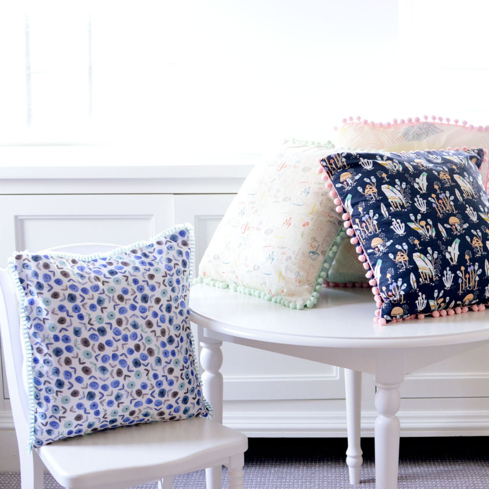 Baby Blue Floral Pillow Cover with Mint Tassels