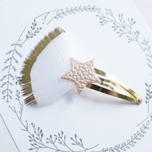 Glitter Feather Star Clip