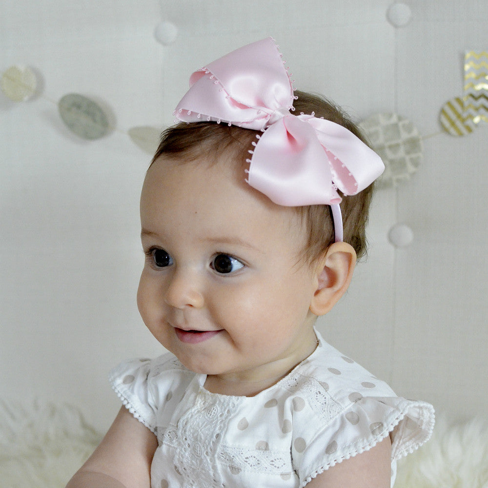 Large Satin Bow Headband / Pink