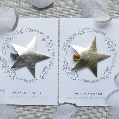 Silver and Gold Star Hair Clips