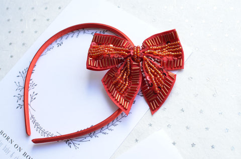 Beaded Holiday Bow in Red