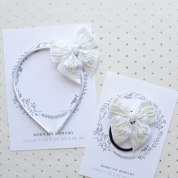 Beaded Holiday Bow in White