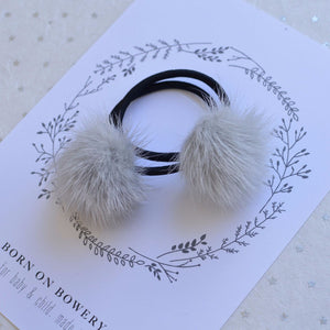 Set of 2 Fur Ponytail Holders in Gray