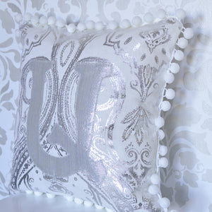 Personalized Armenian Monogram Pillow / Silver Paisley