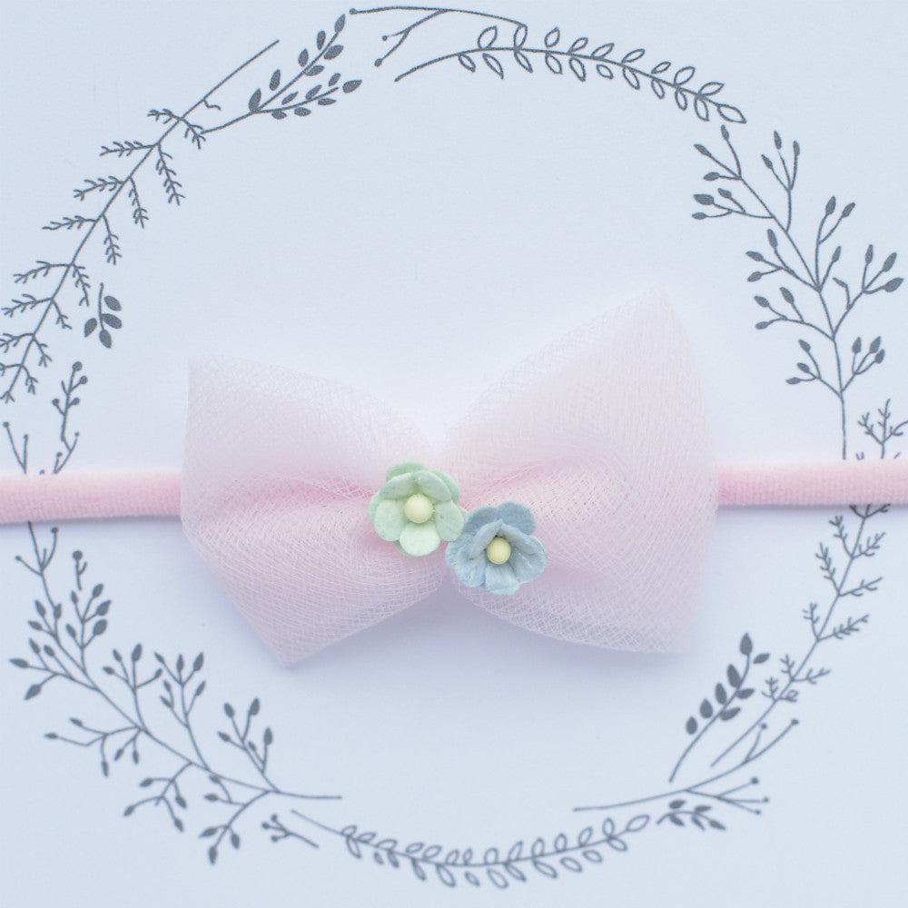 Tulle Flower Headband / Pink