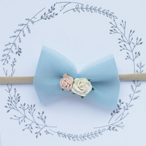 Tulle Flower Headband / Blue