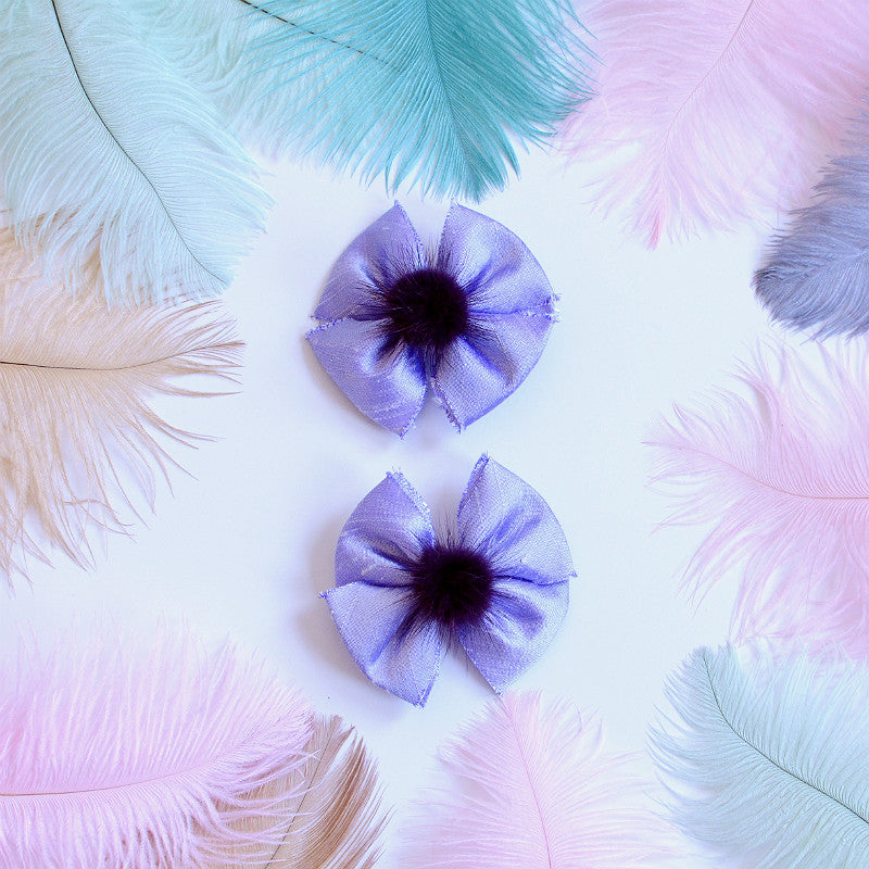 Lavender Silk & Fur Hair Bow